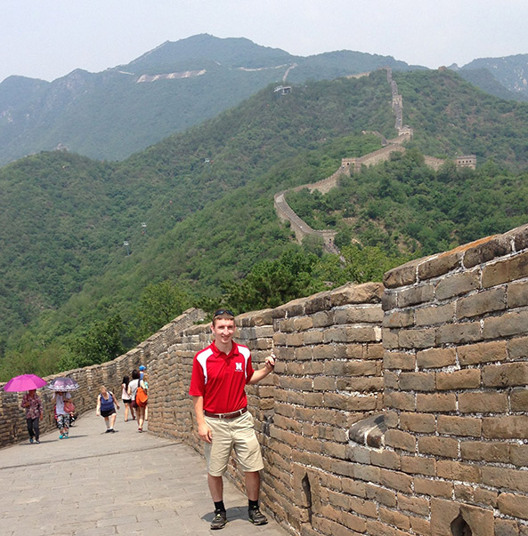Photo of Engler student on the Great Wall of China