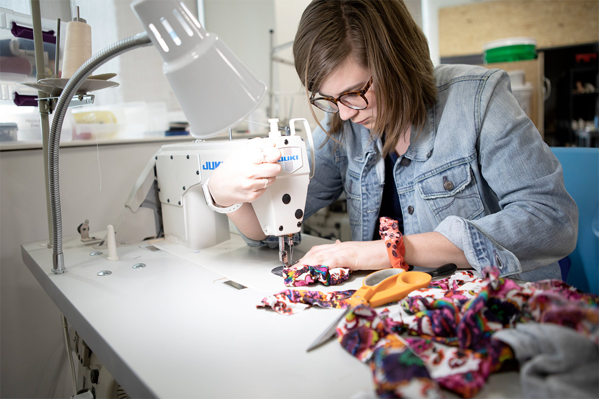 Emily sewing