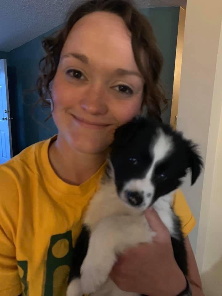 Shaye with dog