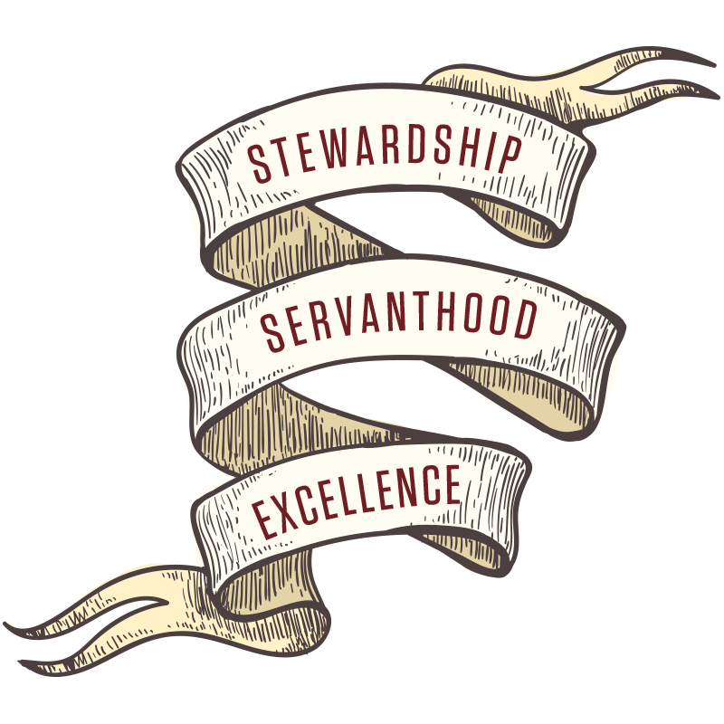 Stewardship, servanthood, and excellence graphic
