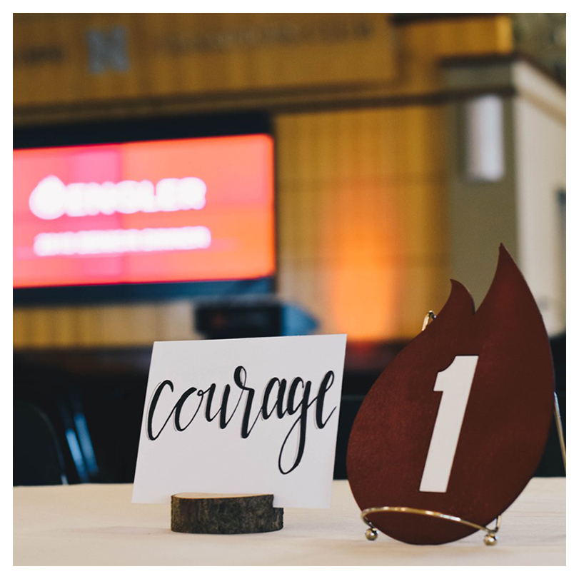 word courage on a table card