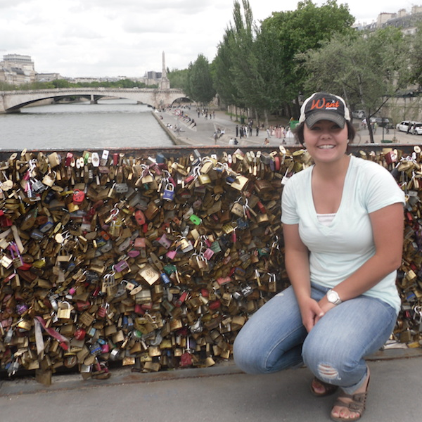 Amber on lock bridge in Spain