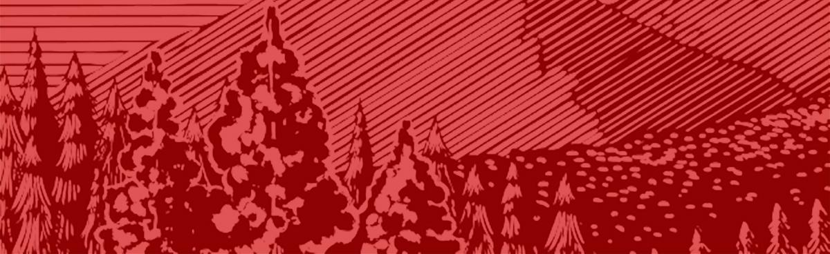 Mountain and trees on red